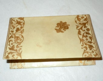 Antique calling card credit card holder with gold gilt