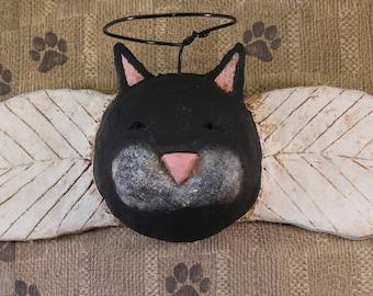 Primitive Cat Angel, OOAK, hand-sculpted paper mache, Black Cat Wall Art, Primitive Black Cat