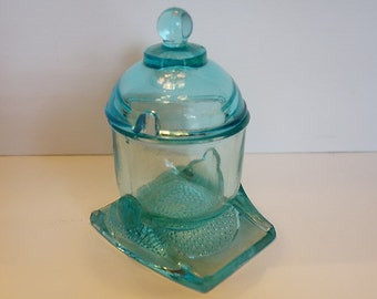 Vintage Turquoise Blue Glass Jam Jar/Pot with Lid