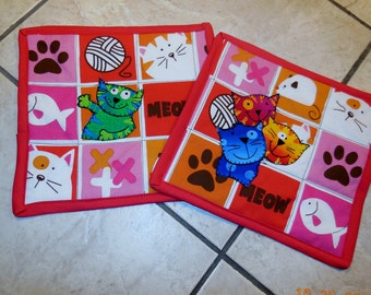 Set of 2 cat mug rugs, mug mats, snack mats, hand quilted, meow, vibrant color, great gift