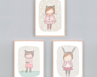Art Print Set Three, Girls Bedroom Art, Pink Bedroom Art Prints, Animal Nursery Prints, Bunny Print, Kitty Cat Art