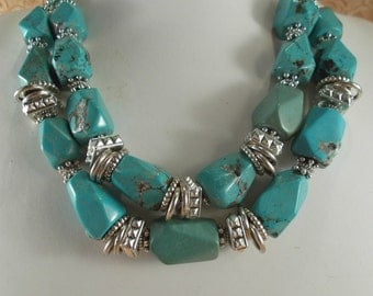 Western Cowgirl Necklace Set - Chunky Faceted Aqua Howlite Turquoise Nuggets