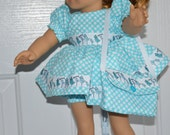 18 Inch Doll Short Sleeve Polka Dot Dress, Matching Panties and Matching Shoulder Bag by SEWSWEETDAISY