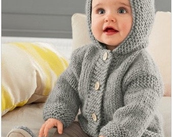 Knitting Pattern Baby Hooded Jacket PDF Pattern Instant Download  Knitted Baby Hooded Jacket  Hoodie Baby Jacket Easy Pattern