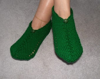 Pair of Kelly Green Pocket Slippers