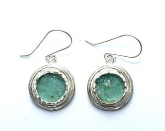 Stunning  Roman Glass 925 Sterling Silver Earrings