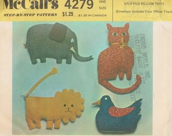 Vintage Soft Stuffed Animal Toy Elephant Kitty Cat Lion Duck Sewing Pattern UNCUT