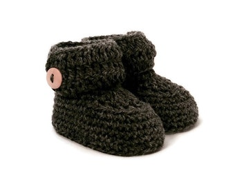 Short Button Cuff Baby Booties in Charcoal Merino Wool