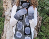Granny's Crochet chunky scarf in grey, black, charcoal and white