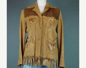 40% OFF 40s Suede Western Leather Fringe Jacket Coat Sportogs 1940s California Corrals Cowgirl S