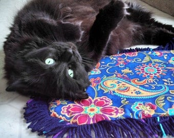 Catnip Crinkle Mat Toy Paisley Flower print  with three colors  Fringe        for cats and ferrets Recycled