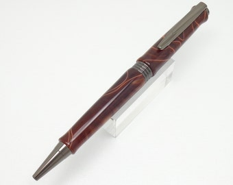 Handmade Acrylic Pen - A Writing Pen Made With  A Coffee Swirls Acrylic And Gun Metal Components