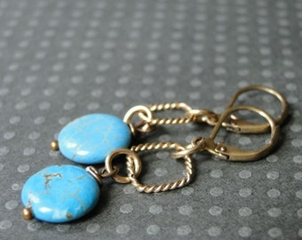 Turquoise Dangle Earrings / Statement Earrings / 14k Gold Filled Turquoise Drop Earrings / Accessories / Gift for Her / Summer Jewelry