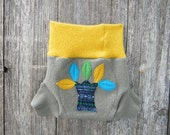 Upcycled Wool Soaker Cover Diaper Cover With Added Doubler Taupe/ Mustard Yellow With Tree Applique MEDIUM 6-12M Kidsgogreen