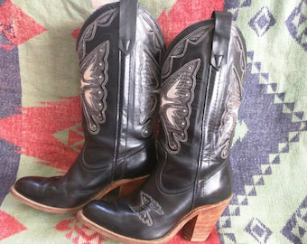 AMAZING vintage Western Gypsy Junkin Leather Ornate Cutout Burnout Boots Cowgirl up Stacked heel / foil cutouts / butterfly Miss Capezio 7.5