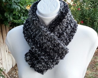 Small Skinny Lightweight Winter Infinity Scarf Loop Cowl, Black & Gray Grey, OOAK Striped Crochet Knit Boucle,  Neck Warmer, Ready to Ship