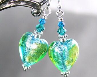Gold Blue Heart Earrings Sterling Silver Earrings Iridescent 24k Gold Venetian Murano Glass Heart Drop Dangle Earrings Valentines Jewelry