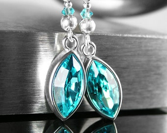Swarovski Crystal Turquoise Earrings Sterling Silver Hook Earrings Blue Turquoise Crystal Drop Earrings Swarovski Marquise Crystal Jewelry