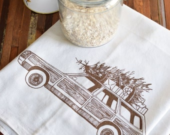 Tea Towel - Screen Printed Flour Sack Towel - Christmas Towel - Kitchen Towels - Dish Towels - Tea Towel Flour Sack - Tea Towel Set