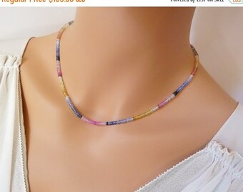SALE Multi Color Natural Sapphire necklace. Sapphire choker. Sapphire gemstone necklace. Beaded Sapphire necklace. September birthstone gift