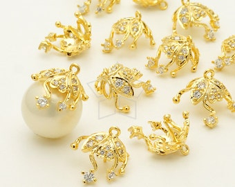 CP-050-GD / 2 Pcs - Ivy Flower Bead cap with Peg, CZ Stone Detail, 16K Gold Plated over Brass / for 10mm - 12mm