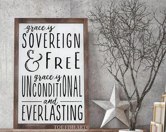 Grace Is Sovereign Wood Sign| Scripture Sign| Framed Wooden Sign| Custom Sign