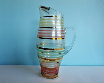 Vintage Glass Pitcher - Striped with Gold Bands - Large Pitcher