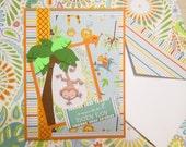Handmade Baby Boy Card and Gift Card Holder, Sweet Baby Boy handmade card, monkey, palm tree with gift card holder inside
