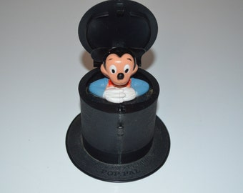 Vintage Mickey Mouse Pop Pal Top Hat toy push button pop up - Walt Disney Kohner