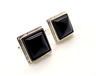 Ebony Splendor Black Onyx Cufflinks - Men's Black Cufflinks – Black Square Cufflinks - Onyx Cufflinks