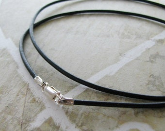 """Black Leather Cord Necklace with Sterling Findings, 16"""" or 18"""""""