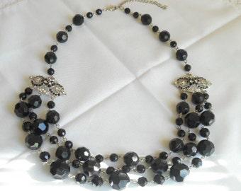 Vintage Black Bead Silver Tone MultiStrand Necklace