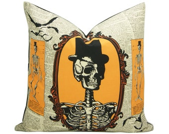 Halloween Pillow Cover - 20 inch - Halloween Decor - Skeleton - Day of the Dead - Bats - decorative pillow cover - ready to ship