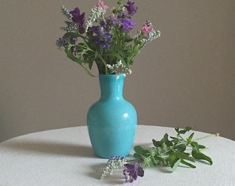 Vintage Turquoise Blue Milk Glass Vase Portieux Vallerysthal - Bottle Form - Medium Size