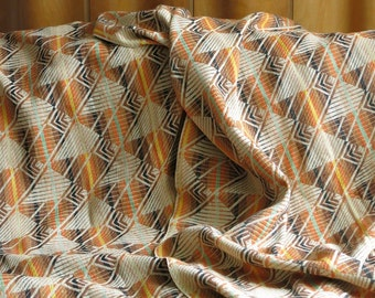 Two Vintage Curtain Panels - Cotton Linen Fabric Yardage - Southwestern Geometric - Neutral Orange Brown Mid Century Modern Window Hangings