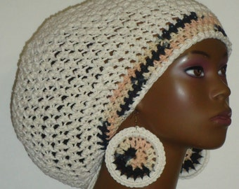 Cookies n Cream Trimmed Ivory Cotton Crochet Tam Cap Hat and Earrings with Drawstring Ivory Natural Black Ready to Ship
