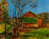 Original Painting Country Landscape,16x20, Acrylic painting on Canvas ,New York State Countryscape, Red Barn ,Fall ,by Patty Fleckenstein,