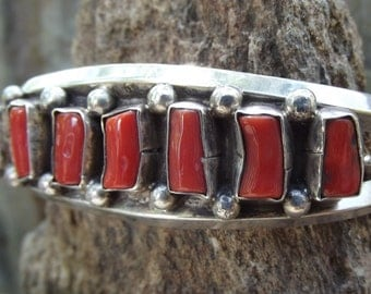 Stunning Native American Red Coral Sterling Silver Bracelet