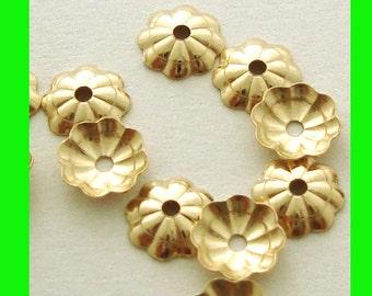 50pcs 5mm yellow 14k gold filled small disk bead cap flower cap GC03