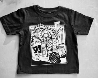 93 Til' Infinity Kid Shirt by Graphic Villain. Printed on ultra soft ring spun cotton