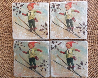 "Marble Stone Coaster Set - Vintage Ski - ""Cute Boy"" - Ski Decor - Drink Coaster - Ski Decor - Ski Gift - Hostess Gift - Christmas Decoration"