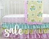 SALE* Bumperless Crib Bedding Set , Girl Baby Bedding , Purple Aqua Nursery , Ruffle Baby Blanket , Ruffle Crib Skirt , Shabby Chic floral