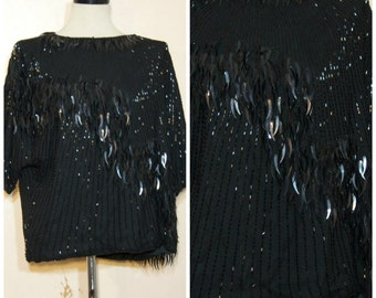 Black Beaded Sequin Fringe Top Medium Large XL Oversized Flapper Party Top