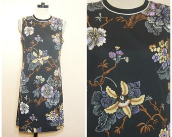 60s Floral Shift Dress Large Sleeveless Retro Cute A Line Mad Men