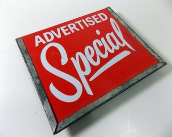 Vintage Store Signage / Advertised Special / Pricing / Metal Sign Holder / Store Display/ Dept Store / Grocery Store