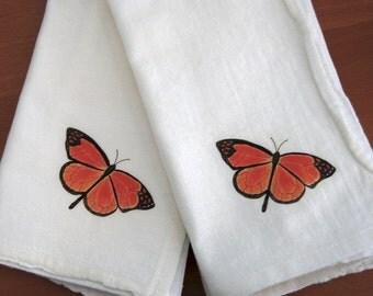 Monarch Butterfly Napkins, Flour Sack Cotton,  Napkin Dining Decor, Set of 2, Garden Gift, Garden Dining Events, Nature Theme,Botanical Gift
