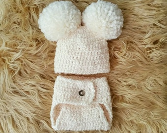 Crochet Baby Pom Pom Hat and Diaper Cover Set, Newborn Double Pom Pom Hat and Diaper Cover, Newborn Photography Prop