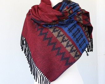 Blanket shawl Oversized winter scarf Large fringed wrap Blanket scarves Burgundy and blue Boho Aztec Autumn fall fashion Christmas gift