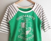 Womens - Slytherin Quidditch Harry Potter Raglan Tee, size L READY TO SHIP