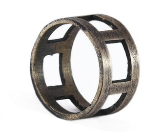 Mens Bronze Ring Cool Rustic Wedding Band Man Jewelry